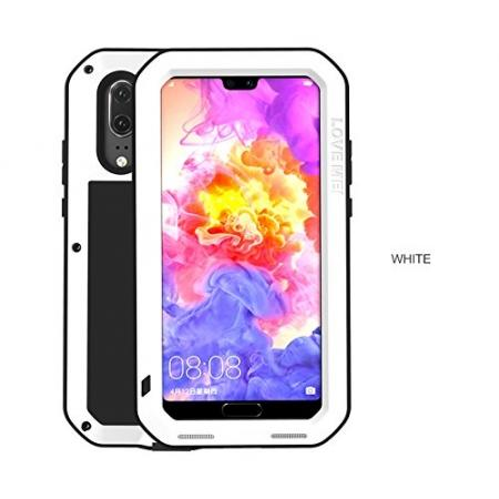 Shockproof Dustproof Aluminum Metal Tempered Glass Case For Huawei P20 Pro - White