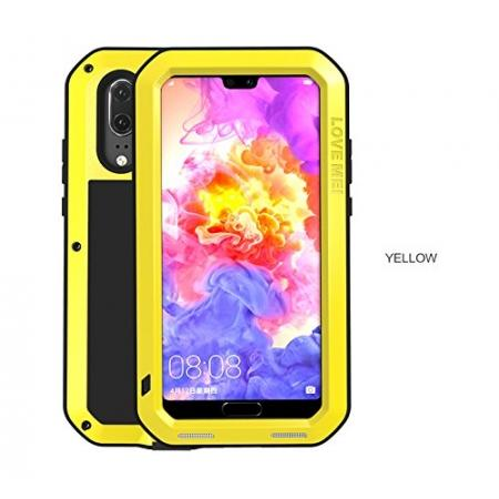Shockproof Dustproof Aluminum Metal Tempered Glass Case For Huawei P20 Pro - Yellow