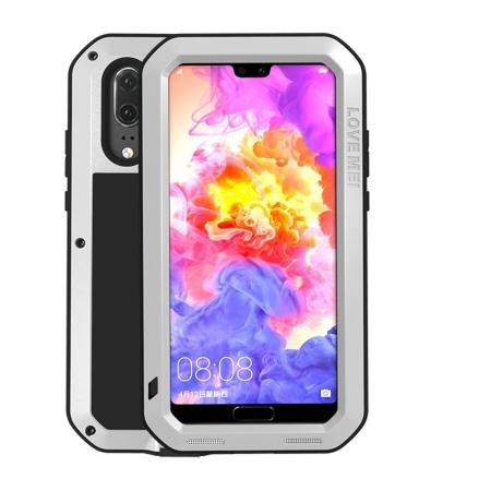 Shockproof Dustproof Aluminum Metal Tempered Glass Case For Huawei P20 - Silver