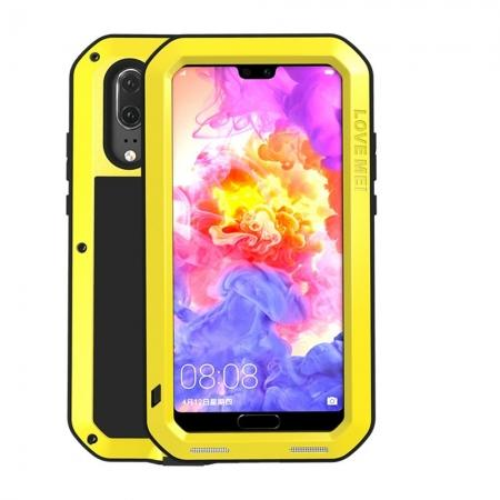Shockproof Dustproof Aluminum Metal Tempered Glass Case For Huawei P20 - Yellow