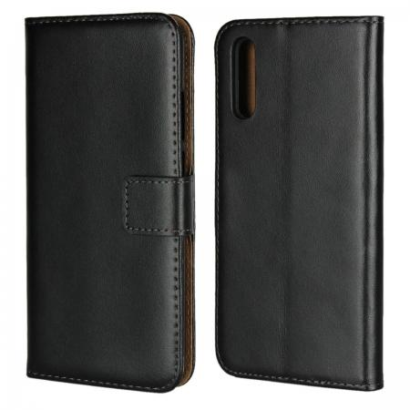 Ultra Slim Genuine Leather Flip Case Stand Wallet for Huawei P20  - Black