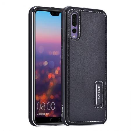 Aluminum Bumper Genuine Leather Cover Stand Case for HuaWei P20 - Black