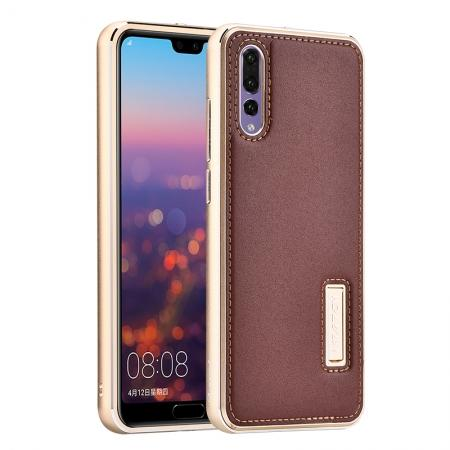 Aluminum Bumper Genuine Leather Cover Stand Case for HuaWei P20 - Gold&Brown