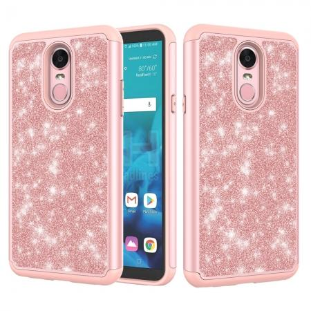 Fashion Glitter Bling Design Dual Layer Hybrid Protective Phone Case for LG Stylo 4 - Rose gold