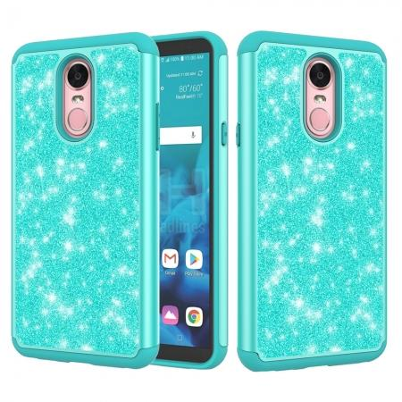 Fashion Glitter Bling Design Dual Layer Hybrid Protective Phone Case for LG Stylo 4 - Teal