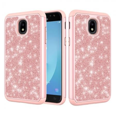 Fashion Glitter Bling Dual Layer Hybrid Protective Phone Case For Samsung Galaxy J3 (2018) - Rose gold