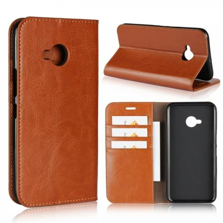 For HTC U11 Life Crazy Horse Genuine Leather Case Flip Stand Card Slot - Brown