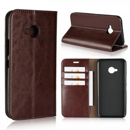 For HTC U11 Life Crazy Horse Genuine Leather Case Flip Stand Card Slot - Coffee