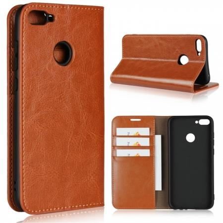 For Huawei Honor 10 Lite Crazy Horse Genuine Leather Case Flip Stand Card Slot - Brown
