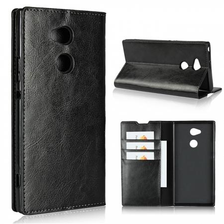 For Sony Xperia XA2 Ultra Crazy Horse Genuine Leather Case Flip Stand Card Slot - Black