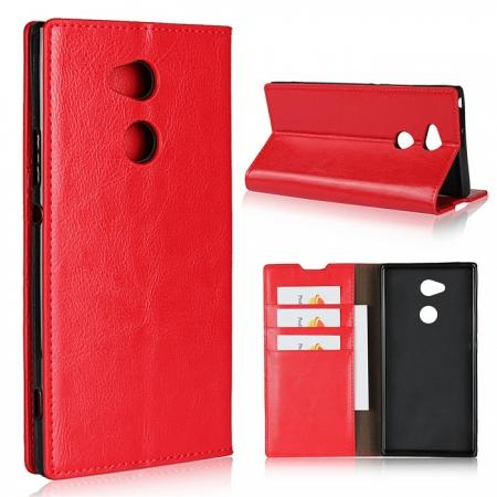 For Sony Xperia XA2 Ultra Crazy Horse Genuine Leather Case Flip Stand Card Slot - Red