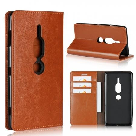 For Sony Xperia XZ2 Premium Crazy Horse Genuine Leather Case Flip Stand Card Slot - Brown