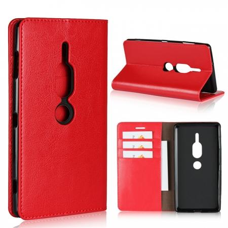 For Sony Xperia XZ2 Premium Crazy Horse Genuine Leather Case Flip Stand Card Slot - Red