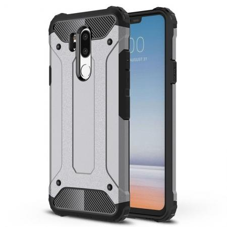 Full Slim Rugged Dual Layer Heavy Duty Hybrid Protection Case for LG G7 ThinQ - Gray