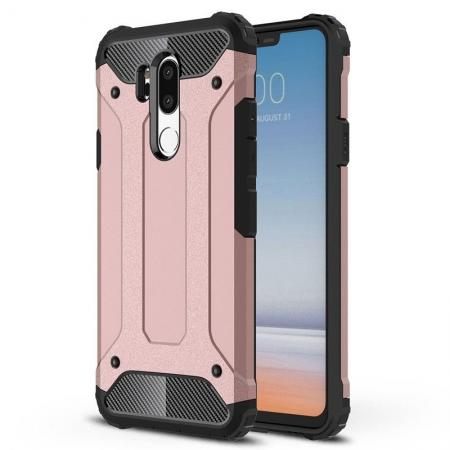 Full Slim Rugged Dual Layer Heavy Duty Hybrid Protection Case for LG G7 ThinQ - Rose gold