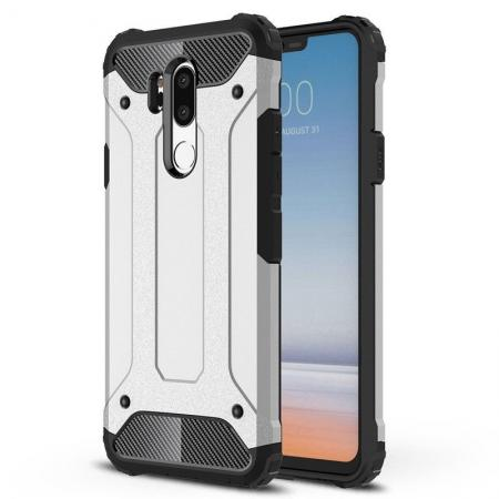Full Slim Rugged Dual Layer Heavy Duty Hybrid Protection Case for LG G7 ThinQ - Silver