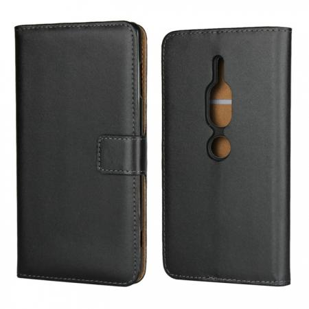 Genuine Leather Stand Wallet Case for Sony Xperia XZ2 Premium with Card Slots&holder - Black