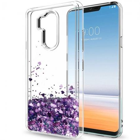 Glitter Shiny Bling Moving Liquid Quicksand Clear TPU Phone Case for LG G7 ThinQ - Purple
