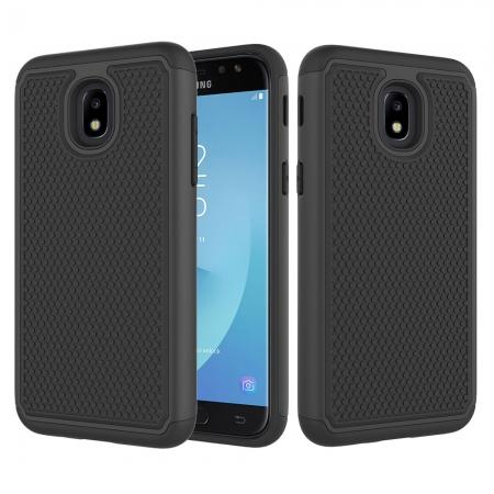 Hybrid Dual Layer Shockproof Protective Phone Case Cover For Samsung Galaxy J3 (2018) - Black