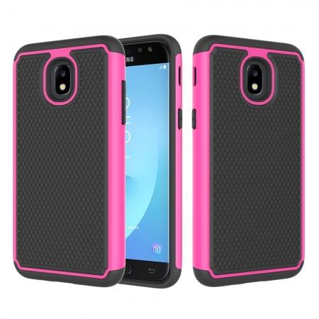 Hybrid Dual Layer Shockproof Protective Phone Case Cover For Samsung Galaxy J3 (2018) - Hot pink