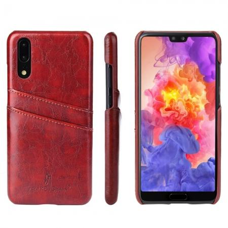 Oil Wax Card Holder Back PU Leather Case for Huawei P20 - Brown