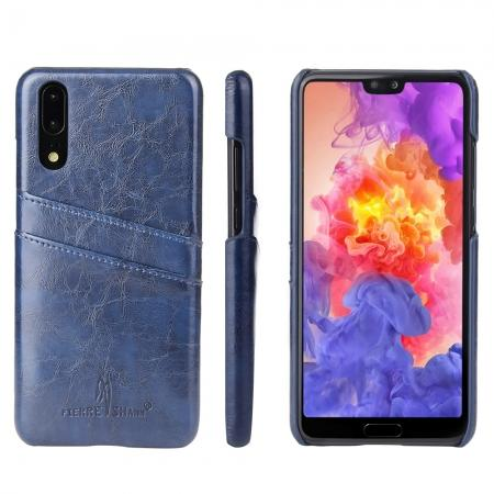 Oil Wax Card Holder Back PU Leather Case for Huawei P20 - Dark Blue