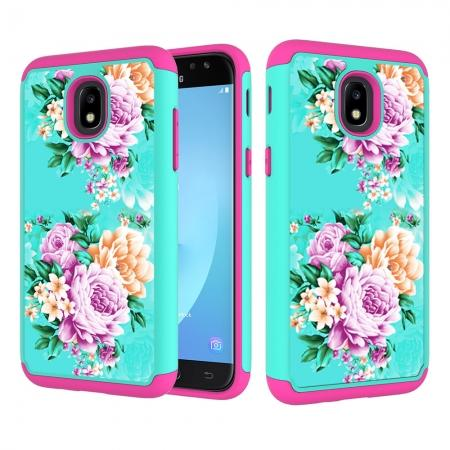 Patterned Hybrid Dual Layer Shockproof Protective Case For Samsung Galaxy J3 (2018) - Teal&Hot pink