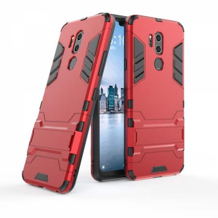 Slim Armor Stand Shockproof Hybrid Rugged Rubber Hard Back Case for LG G7 ThinQ - Red