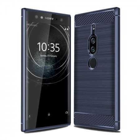 Slim Flexible TPU Case Anti-slip Anti-Scratch Protective Case for Sony Xperia XZ2 Premium - Navy Blue