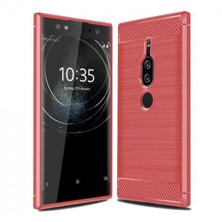 Slim Flexible TPU Case Anti-slip Anti-Scratch Protective Case for Sony Xperia XZ2 Premium - Red