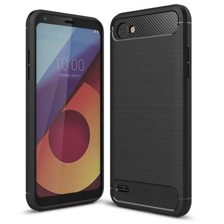 Case for LG Q6 / Q6a, Ultra Slim Shockproof TPU Carbon Fiber Protective Phone Cover - Black