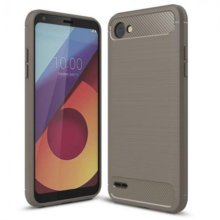 Case for LG Q6 / Q6a, Ultra Slim Shockproof TPU Carbon Fiber Protective Phone Cover - Gray