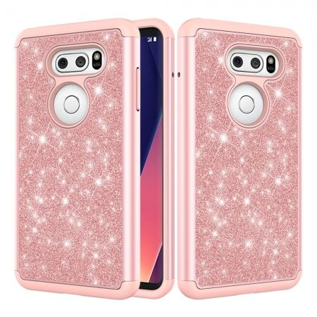 Fashion Bling Glitter Hybrid Shockproof Protective Phone Cover Case For LG V30 / V30S ThinQ - Rose gold