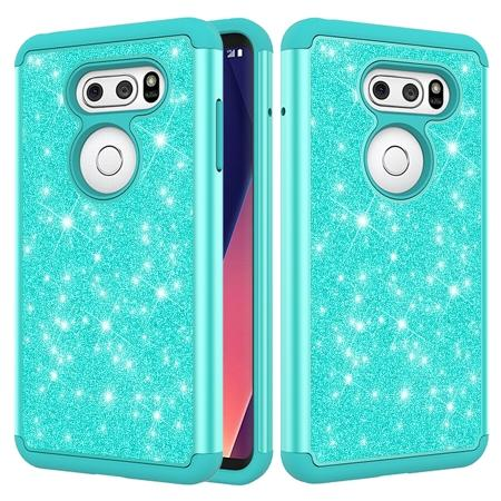 Fashion Bling Glitter Hybrid Shockproof Protective Phone Cover Case For LG V30 / V30S ThinQ - Teal