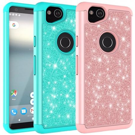 For Google Pixel 2, 2 XL Bling Armor Anti-Slip Dual Layer Shock Absorption Protective Phone Case Cover