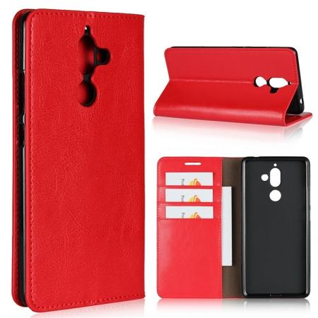 For Nokia 7 Plus Luxury Crazy Horse Genuine Leather Case Flip Stand Card Slot - Red