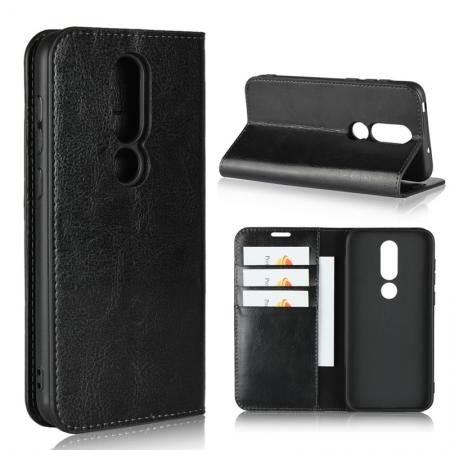 For Nokia X6 Luxury Crazy Horse Genuine Leather Case Flip Stand Card Slot - Black