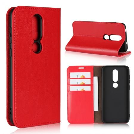 For Nokia X6 Luxury Crazy Horse Genuine Leather Case Flip Stand Card Slot - Red