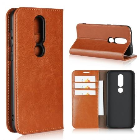 For Nokia X6 Luxury Crazy Horse Genuine Leather Case Flip Stand Card Slot - Brown