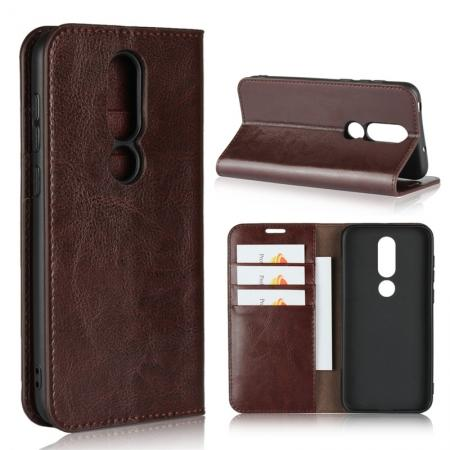 For Nokia X6 Luxury Crazy Horse Genuine Leather Case Flip Stand Card Slot - Coffee