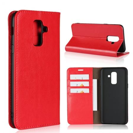 For Samsung Galaxy A6+ (2018) Premium Crazy Horse Genuine Leather Case Flip Stand Card Slot - Red