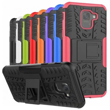 For Samsung Galaxy J6 Rugged Armor Shockproof Hybrid Kickstand Case Cover