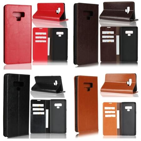 For Samsung Galaxy Note 9 Crazy Horse Genuine Leather Case Flip Stand Card Slot