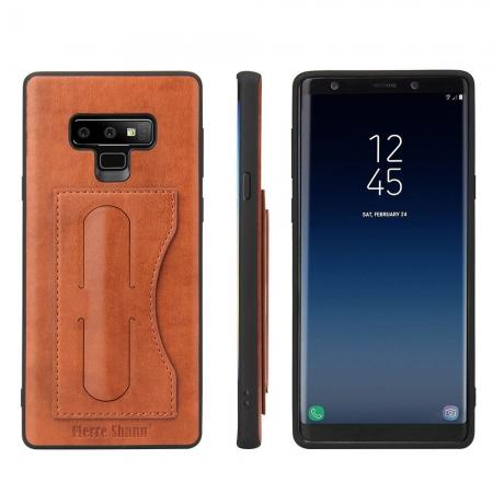 For Samsung Galaxy Note 9 Kickstand Card Pocket Leather Case Back Cover - Brown