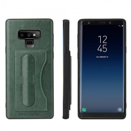 For Samsung Galaxy Note 9 Kickstand Card Pocket Leather Case Back Cover - Green