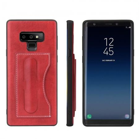For Samsung Galaxy Note 9 Kickstand Card Pocket Leather Case Back Cover - Red