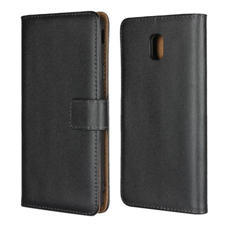 Genuine Leather Stand Wallet Case for Samsung Galaxy J7 (2018) with Card Slots&holder - Black