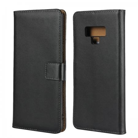 Genuine Leather Stand Wallet Case for Samsung Galaxy Note 9 with Card Slots&holder - Black
