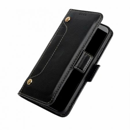 Genuine Yak Hide Card Slots Flip Leather Case For iPhone X - Black