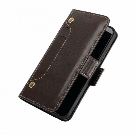 Genuine Yak Hide Card Slots Flip Leather Case For iPhone X - Brown